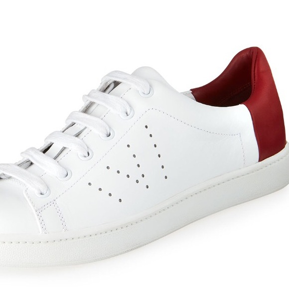 Vince Womens Leather Sneakers Whitered